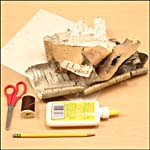 Photograph showing materials required for birch bark container
