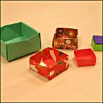 Photograph showing five origami boxes