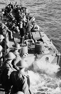 Troops of the Cameron Highlanders of Canada in landing craft prior to the raid on Dieppe